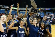 Sierra Canyon celebrates after beating Justin-Siena 64-37 in the CIF-State Division IV Finals, Saturday, March 29, 2014, in Sacramento. (Photo by Michael Owen Baker/L.A. Daily News)