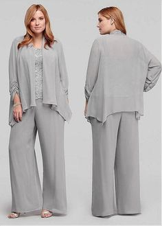 Buy discount Exquisite Pant Suits Lace & Chiffon Square Neckline Full-length Mother Of The Bride Dresses With Detachable Coat at Magbridal.com