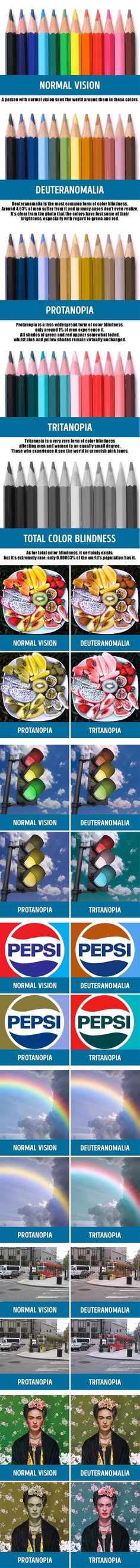 Different types of colorblindness. - 9GAG