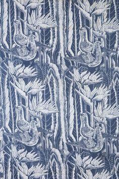 """Tyra Lundgren Textile - """"Strelitzior och duvor""""  Handprinted Strelitzior och duvor, NK's Textilkammare, Made in Sweden. Designed in 1954."""