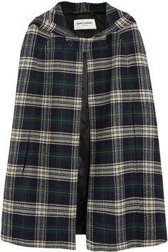 Saint Laurent Hooded plaid wool cape
