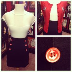The Sailor Bop skirt creates so many cute outfits! Here we paired it with a plain white top and red Vine & Swallow cardigan for a sweet nautical look Visit us in the store or online to check these pieces out! xox BB #blamebetty #yyc #sailor #skirt #cardigan #outfit #nautical #pinup #rockabilly