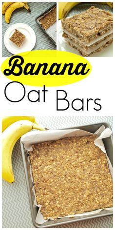 Healthy Snacks For Kids These Banana Oat Bars are gluten-free, dairy-free, and nut-free and they make a great portable snack or breakfast option. Super easy, one-bowl recipe. - These bars are vegan, nut free and GF! Great for a healthy snack! Breakfast Options, Breakfast Recipes, Snack Recipes, Cooking Recipes, Healthy Recipes, Breakfast Cookies, Overripe Banana Recipes, Recipes With Bananas, Meal Prep Breakfast