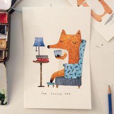 I'm making series of fox~! No.1 tea drinking fox #illustration #fox #watercolor #creativebug #drawing #colorpencil #makeartthatsells #art #creativelifehappylife #animalprint #art_we_inspire #일러스트 #여우