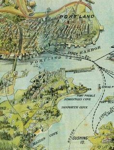 1906 Walker Co. Birds Eye Map Casco Bay by GaleyrieHistoricMaps