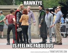 Fabulous Hawkeye. XD Also see Captain America and Tony Stark. Officially my favorite Avengers shot ever.