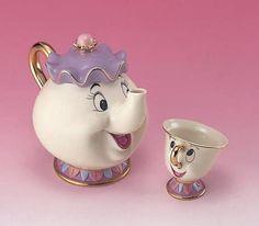 Disney Beauty and The Beast Tea Pot & Cup Tea set Mrs. Pot and Chip | eBay