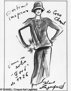 Portrait imaginaire de Coco Chanel par Karl Lagerfeld : robe taille basse, long sautoir de perles et chapeau cloche.
