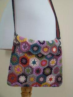 crochet purse out of hexagons