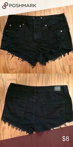 AE Black Denim Shorts AE Black Denim Shorts in a ripped look. Comfortable fit American Eagle Outfitters Shorts Jean Shorts