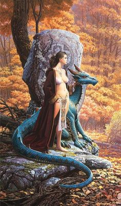 [Size: x This was a cover painting for Keith Parkinson Fantasy Art Trading Cards box Fantasy Girl, Chica Fantasy, Fantasy Women, Dark Fantasy, Fantasy Creatures, Mythical Creatures, Fantasy Characters, Female Characters, Comics Vintage