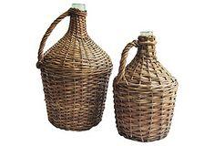 Pair French Wicker Demijohn Bottles