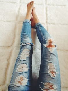 Obsessed with super distressed jeans currently