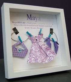 Personalized Name Paper Origami Shadowbox with Fashion Clothing Custom Newborn Baby Shower Gift by paintandpapercraft on Etsy