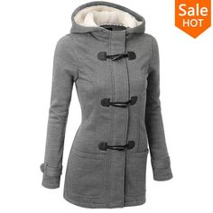 Hooded Horn Button Coat Women Winter Parkas Sport - All In One Place With Us - 3