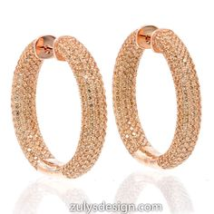 ZDE2003-RG STERLING SILVER 925 ROSE GOLD PLATED CHAMPAGNE PAVE CZ HOOP EARRINGS 30 MM