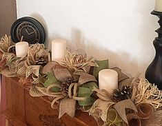 36 Burlap Pinecone Candle Arrangement/Cabin Pinecone