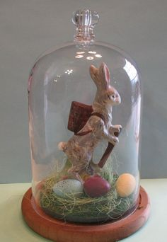 GLASS DOME W/ Olde Fashion' Bunny~Antique Chocolate mold By:Jean T. Littlejohn