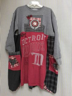 Vintage Detroit Red Wings Sweatshirt Dress Upcycled T-Shirts