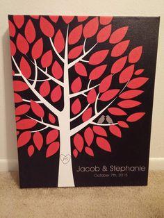 Wishwik Wedding Tree Canvas | Guest Book Alternative | Modern Wedding | Customer Photo | Wedding Colors - Black & Red | peachwik.com