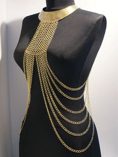 Items similar to body chain necklace, gold body chain necklace, gold harness, body chain, harness chain necklace on Etsy Simple Party Dress, Body Chain Harness, Body Necklace, Body Chain Jewelry, Chain Necklaces, Gold Bodies, Look Girl, Costume Design, My Style