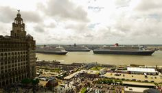 Cunard Three Queens. One Magnificent City. Liverpool. CUNARD'S THREE QUEENS PERFORM RIVER DANCE ON THE MERSEY IN SALUTE TO LIVERPOOL WHERE THE COMPANY BEGAN 175 YEARS AGOFor the first time, Cunard's fleet gathered together in spectacular fashion in Liverpool, its spiritual home, as the company marked its 175th anniversary. The event culminated with the three ships, the largest passenger ships ever to muster together on the River Mersey, lined up across the river just 130 metres apart as the…