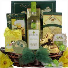 Happy easter sugar free gourmet easter gift basket easter gift beringer easter pinot grigio wine gourmet gift basket negle Images