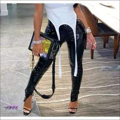 CECE Clothing - 'Good Girl Gone Bad' Black Mid Waist Tight Leather Pants Patent Leather Pants, Tight Leather Pants, Plus Size Bodycon, Good Girl Gone Bad, New Pant, Club Outfits, Leather Material, Latest Fashion Trends, Black Pants