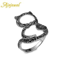 Ajojewel Vintage 18K White Gold Plated | Pave Black Cute Cat Ring For Women