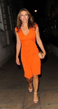 Stylish appearance: Elizabeth Hurley, 51, was her usual sophisticated self as she left the Oliver Peoples private VIP dinner in London on Thursday night