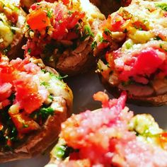 Button mushrooms stuffed with bacon, cheese, mushroom,parsley, capsicum and paprika and garlic- Cooked in a steam oven and grilled briefly for colour Frugal Meals, Easy Meals, Food Dishes, Dishes Recipes, Oven Recipes, Side Dishes, Filling Food, Fun Cooking, Japan