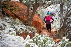 Getting a trail run in whenever possible. Jenny Konway runs a quick early morning loop on the Mescal Trail in Sedona with a dusting of fresh powder to show her the way. Photo: Colin Meagher