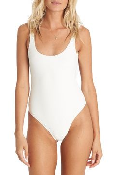 Free shipping and returns on Billabong Line Up One-Piece Swimsuit at Nordstrom.com. Subtle ribs add texture to a bright-white one-piece swimsuit styled with a plunging square back that will look fantastic in photos.