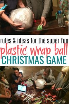 This Saran wrap ball game is SO much fun! Heres how to play, ways to wrap the ball, and ideas for what to put inside. This is perfect for your family Christmas or with friends. Do a plastic wrap ball for the adults and one for the kids and have a blast. Fun Christmas Party Ideas, Christmas Gift Exchange Games, Christmas Games For Family, Xmas Games, Holiday Party Games, Christmas Party Games For Adults, Xmas Party, Christmas Games With Gifts, Fun Gift Exchange Ideas