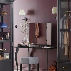 Vanity in purple dressing room. IKEA.