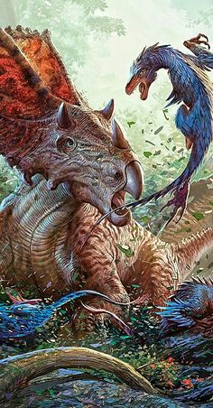Chasmosaurus is a genus of ceratopsiddinosaur from the Upper Cretaceous Period of North America. Its name means 'opening lizard', referring to the large openings (fenestrae) in its frill (Greekchasma meaning 'opening' or 'hollow' or 'gulf' and sauros meaning 'lizard'). With a length of 5–6 metres (16–20 ft) and a weight of 3.6 tonnes (4.0 short tons), Chasmosaurus was a ceratopsian of average size. Like all ceratopsians, it was purely herbivorous