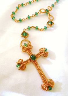 Wire Jewelry Tutorial - Wire Wrapped Rosary - Cross Necklace - PDF Instantly…
