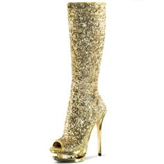 Sparkling Knee High Gold Sequin Boots with Double Platform and 6 Inch Heels