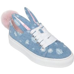 Minna Parikka Women 20mm Bunny Tail Denim Sneakers ($350) ❤ liked on Polyvore featuring shoes, sneakers, blue, distressed shoes, platform trainers, minna parikka shoes, platform shoes and blue sneakers