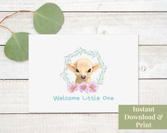 Baby Arrival Card, Printable Welcome Little One Printable Baby Girl Card New Baby Card Printable Baby Shower Greeting Card Download Cow Calf Baby Shower Greetings, Baby Shower Greeting Cards, Baby Girl Cards, New Baby Cards, Congratulations Baby Boy, Birthday Cards For Son, Baby Arrival, Welcome Baby, Baby Shower Printables