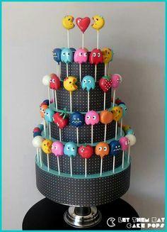 Ms. Pacman cake pops by Let Them Eat Cake Pops ~ www.LetsEatCakePops.com