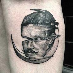 Glitch Tatto by Max Amos from the Wirral UK Tattoos 3d, Modern Tattoos, Body Art Tattoos, Tattoo Drawings, Cool Tattoos, Tatoos, Glitch, Black White Tattoos, Tattoo Zeichnungen