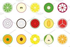 Collection of vector fruit icons by ExpressShop on @creativemarket