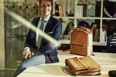 Piquadro Laptop Tan Leather Backpack