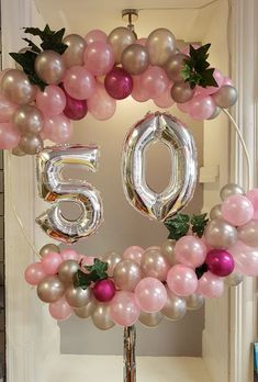 Balloon garland hoop in silver and pinks. Perfect for a birthday Balloon garland hoop in silver and pinks. Perfect for a birthday Balloon garland hoop in silver and pinks. Perfect for a birthday 50th Birthday Balloons, 50th Birthday Centerpieces, Moms 50th Birthday, Birthday Parties, Birthday Presents, Birthday Party Decorations For Adults, Birthday Garland, Birthday Celebrations, Balloon Garland