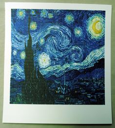"Image of Van Gogh ""Starry Starry night"" Blotter Art"