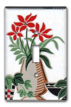Stylish Country Floral 1950's Vintage Wallpaper Switch by Fondue, $12.00