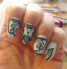 henna elephant nail art! Elephant Nail Art, Henna Elephant, Animal Nail Art, Fabulous Nails, Nail Tutorials, My Nails, Finger, Nail Designs, Fancy