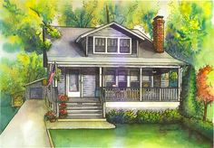 I really like the idea of an artist painting a picture of your home and hanging it in your house. House painting in watercolor with ink details by maryfrancessmith