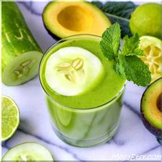 Cucumber, Lime, and Avocado Green Smoothie - a healthy and refreshing breakfast